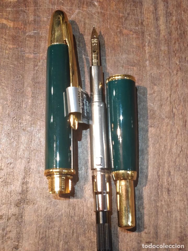 Plumas estilográficas antiguas: Pluma Estilográfica PILOT Capless laca verde, plumín (F) oro 18K y adornos bañados en oro. Sin uso - Foto 7 - 171099094