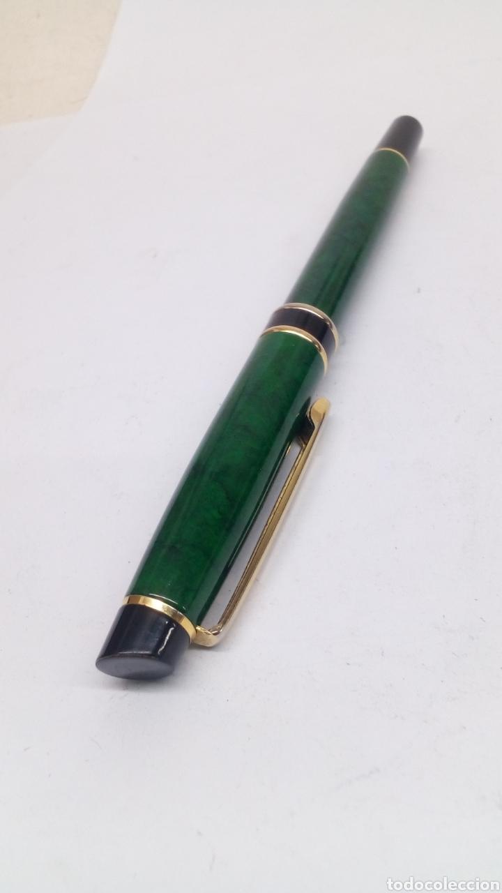 Plumas estilográficas antiguas: Pluma marmolado verde tipo Waterman - Foto 3 - 171128375