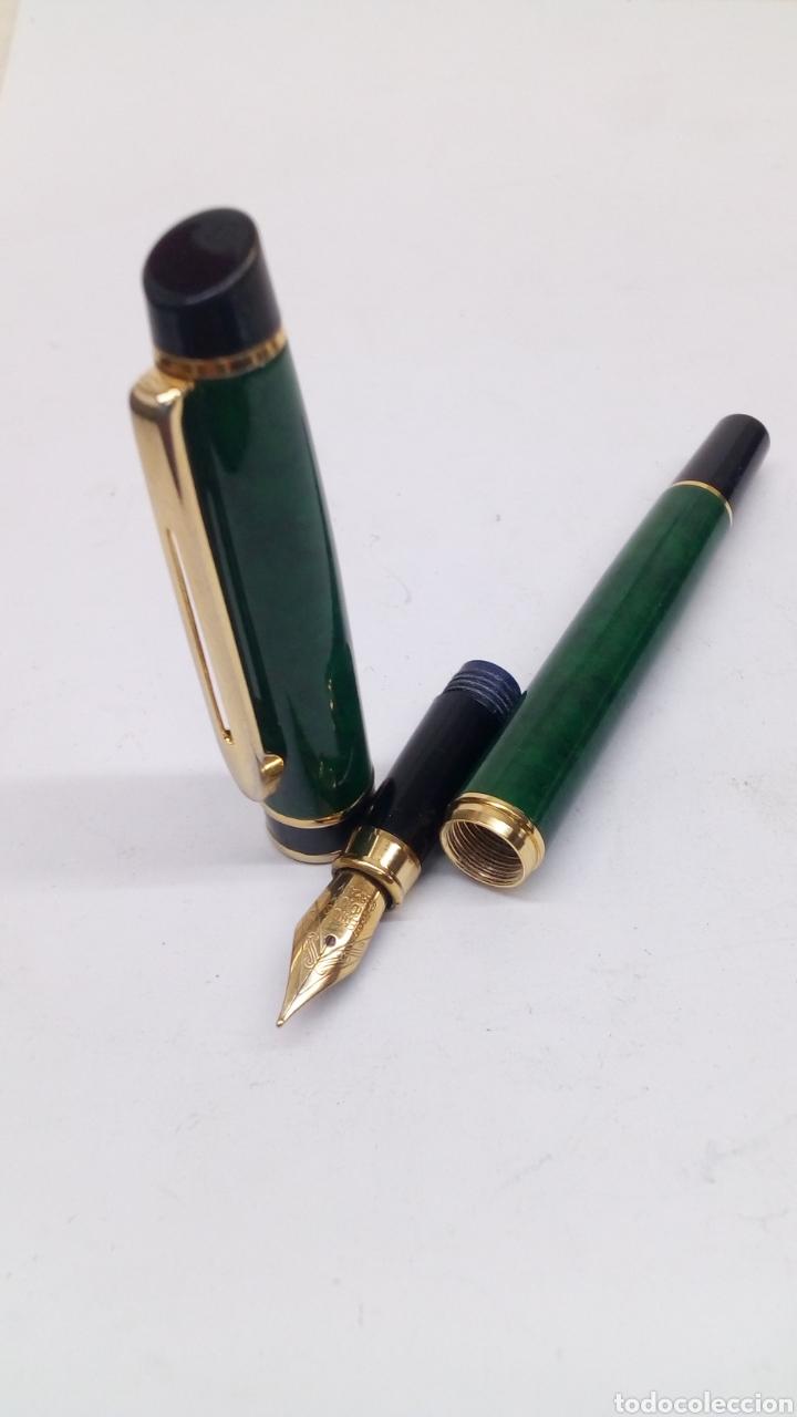 Plumas estilográficas antiguas: Pluma marmolado verde tipo Waterman - Foto 5 - 171128375