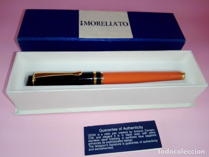 Plumas estilográficas antiguas: Pluma estilográfica-Morellato-Laca orange+negro+dorados-calidad-Caja-Papel-Perfecto estado-Ver fot - Foto 3 - 173821133