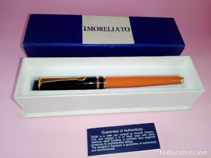 Plumas estilográficas antiguas: Pluma estilográfica-Morellato-Laca orange+negro+dorados-calidad-Caja-Papel-Perfecto estado-Ver fot - Foto 4 - 173821133
