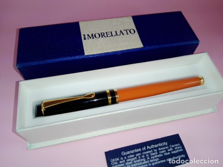 Plumas estilográficas antiguas: Pluma estilográfica-Morellato-Laca orange+negro+dorados-calidad-Caja-Papel-Perfecto estado-Ver fot - Foto 5 - 173821133