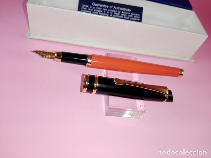 Plumas estilográficas antiguas: Pluma estilográfica-Morellato-Laca orange+negro+dorados-calidad-Caja-Papel-Perfecto estado-Ver fot - Foto 10 - 173821133