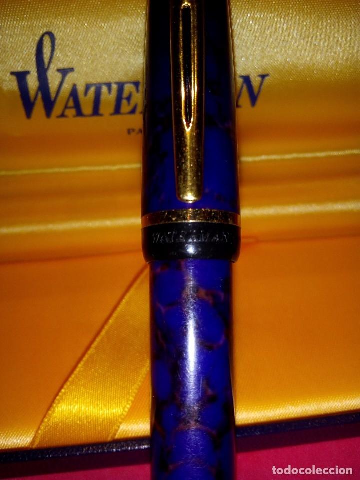 Plumas estilográficas antiguas: Pluma Waterman Phileas azul marmoleada - Foto 2 - 177044159