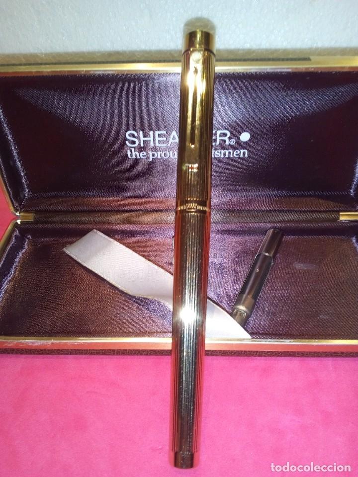 Plumas estilográficas antiguas: Pluma Sheaffer Targa 1005 Fine chapa oro - Foto 2 - 177711395