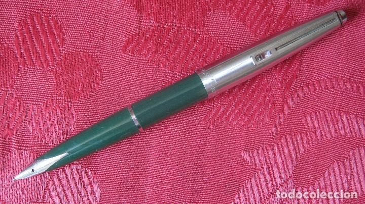 ANTIGUA Y ORIGINAL PLUMA INOXCROM 77 PLUMIN LARGO. VERDE (Plumas Estilográficas, Bolígrafos y Plumillas - Plumas)