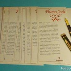 Plumas estilográficas antiguas: 21 FICHAS DESCRIPTIVAS PLUMAS DE LA COLECCIÓN PLUMAS DE COLECCIONISTA. EDILIBRO. Lote 178025622