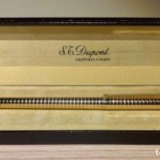 Plumas estilográficas antiguas: S.T. DUPONT GOLD FOUNTAIN PEN. CLASSIQUE, RARE CONVEX RINGS PATTERN. BOX, CONVERTER. '80S. MINT.. Lote 182971035