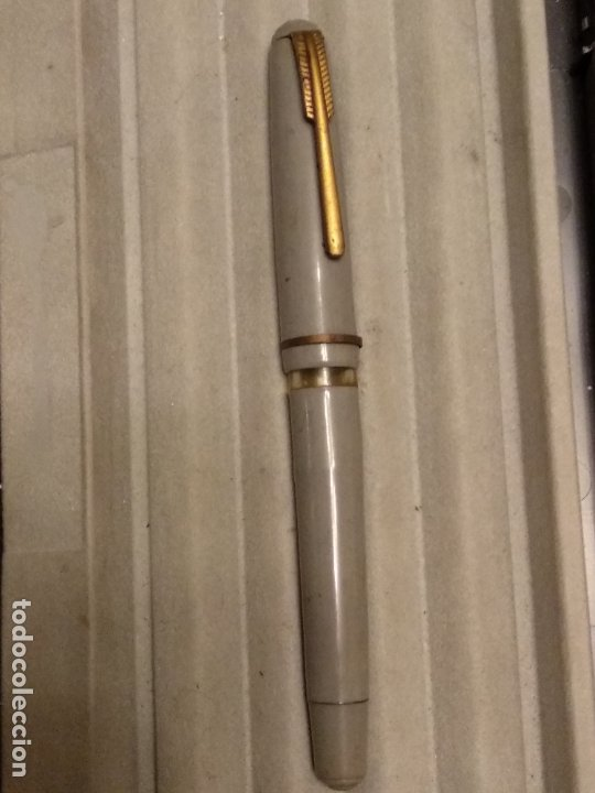 Plumas estilográficas antiguas: pluma estilografica gris plumín inoxcrom gold plated 18 kts - Foto 3 - 183210267