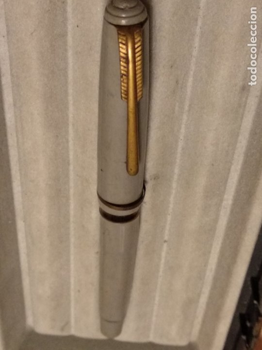 Plumas estilográficas antiguas: pluma estilografica gris plumín inoxcrom gold plated 18 kts - Foto 4 - 183210267
