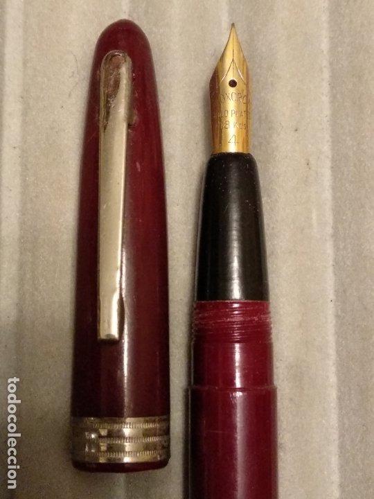 Plumas estilográficas antiguas: pluma estilografica granate plumín inoxcrom gold plated 18 kts 4 - Foto 2 - 183211507