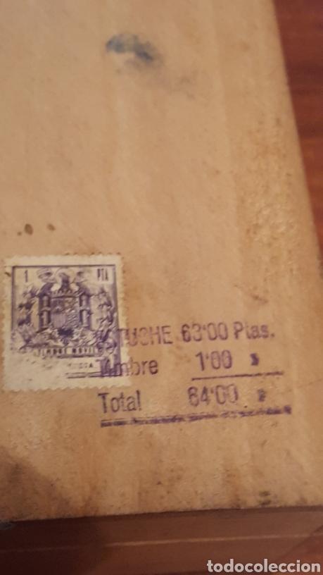 Plumas estilográficas antiguas: Caja vacia tinta china fix, de madera, en buen estado (23,5x9x6cm aprox) - Con sello franquista - Foto 4 - 190153296