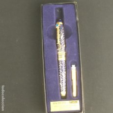 Plumas de tinta permanente antigas: ESTILOGRAFICA-HACHETTE-SWAROVSKI-24K BAÑADA EN ORO-DISEÑO LUNA Y ESTRELLA. Lote 193173118