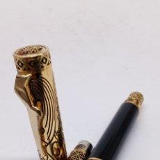 Stylos-plume anciens: PLUMA GRAN CALIDAD CUERPO DORADO CALADO. Lote 194073503