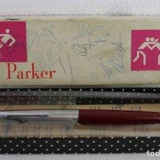 Plumas estilográficas antiguas: PLUMA ESTILOGRÁFICA PARKER GRANATE MADE IN FRANCE CAJA ORIGINAL. Lote 194612571