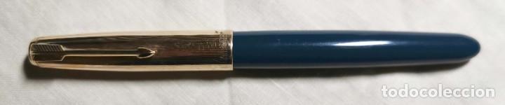 EST002 PARKER 51 TEAL BLUE. CAPUCHÓN PLAQUÉ ORO 12K. TOPE NÁCAR. USA. AÑOS 50 (Plumas Estilográficas, Bolígrafos y Plumillas - Plumas)