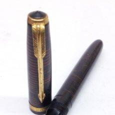 Plumas estilográficas antiguas: PLUMA PARKER JR CUERPO JASPEADO TIGRE. Lote 195368012