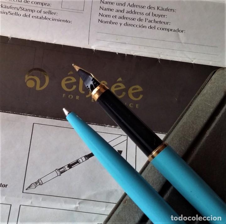 Plumas estilográficas antiguas: ELYSEE JUEGO DE PLUMA ESTILOGRAFICA Y BOLIGRAFO, NUEVO, COLOR AZUL CIELO - Foto 9 - 196377288