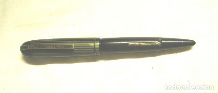 Plumas estilográficas antiguas: Pluma estilográfica Evershap plumin Watermans, capuchon ebonita aguas verdes y cuerpo negro - Foto 2 - 196820411