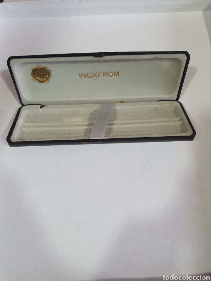 Plumas estilográficas antiguas: CAJA INOXCROM GOLD ELECTROPLATED 23,6 Kts CAJA VACIA BOLIGRAFO Y PLUMA INOXCROM GOLD PLATED - Foto 2 - 197553950