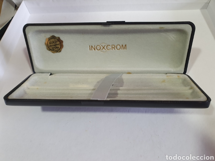 Plumas estilográficas antiguas: CAJA INOXCROM GOLD ELECTROPLATED 23,6 Kts CAJA VACIA BOLIGRAFO Y PLUMA INOXCROM GOLD PLATED - Foto 3 - 197553950