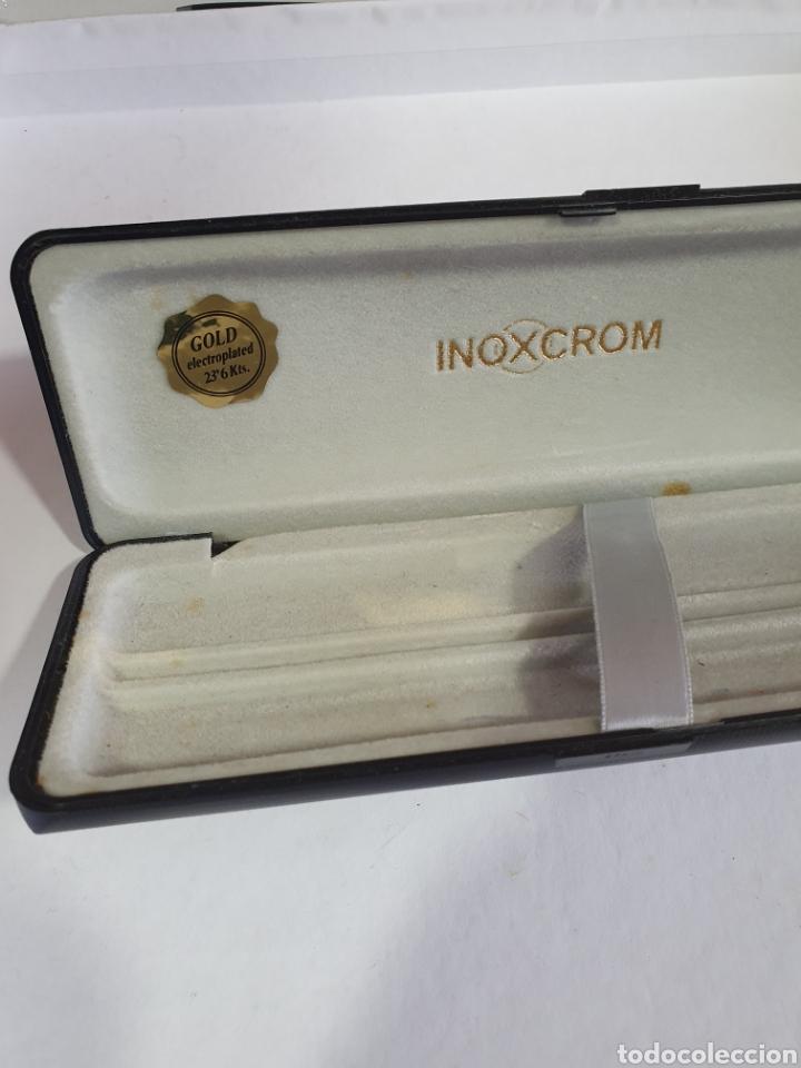 Plumas estilográficas antiguas: CAJA INOXCROM GOLD ELECTROPLATED 23,6 Kts CAJA VACIA BOLIGRAFO Y PLUMA INOXCROM GOLD PLATED - Foto 5 - 197553950
