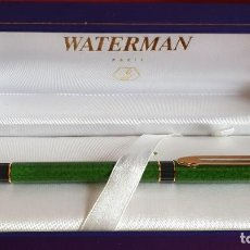 Plumas de tinta permanente antigas: PLUMA WATERMAN PARIS VERDE MARMOLIZADO. CAJA ORIGINAL. Lote 203600956
