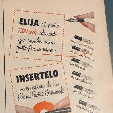 Plumas estilográficas antiguas: PUBLICIDAD DE PRENSA DE PLUMAS ESTILOGRÁFICAS ESTERBROOK. ORIGINAL AÑO 1954. 14 X 35 CM. BUEN ESTADO. Lote 206286918