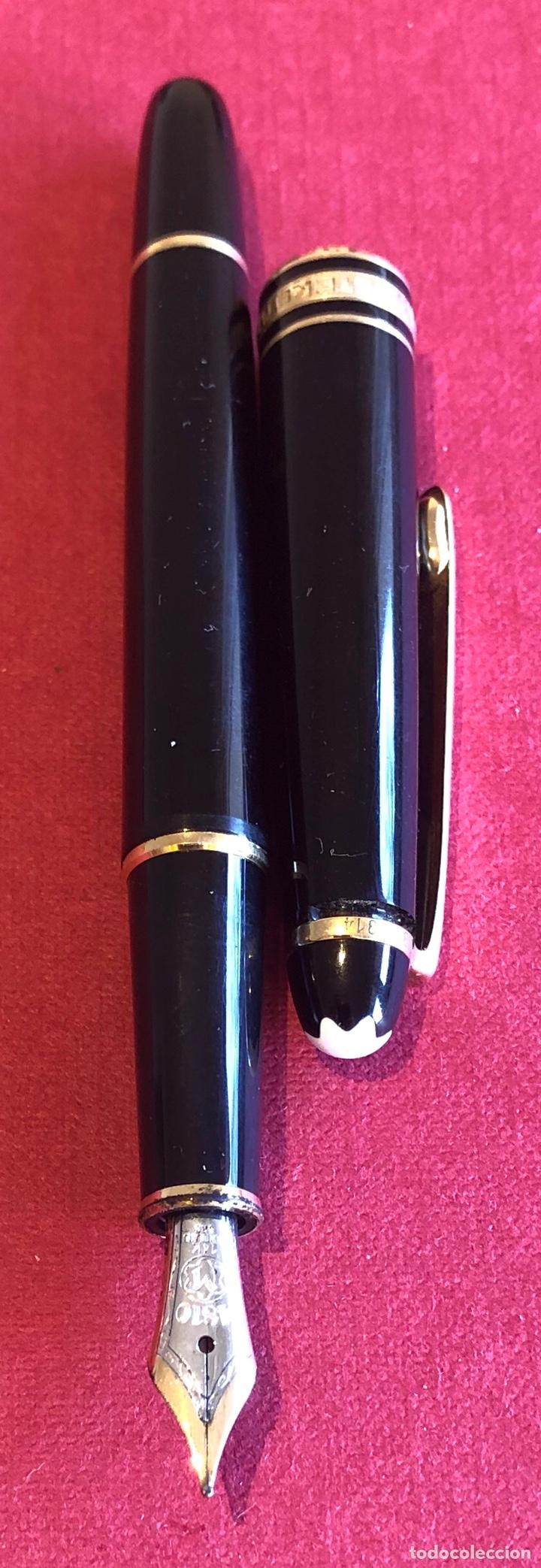 Plumas estilográficas antiguas: Pluma estilografica Montblanc Meisterstuck, de resina negra, con estuche original. - Foto 4 - 213380968