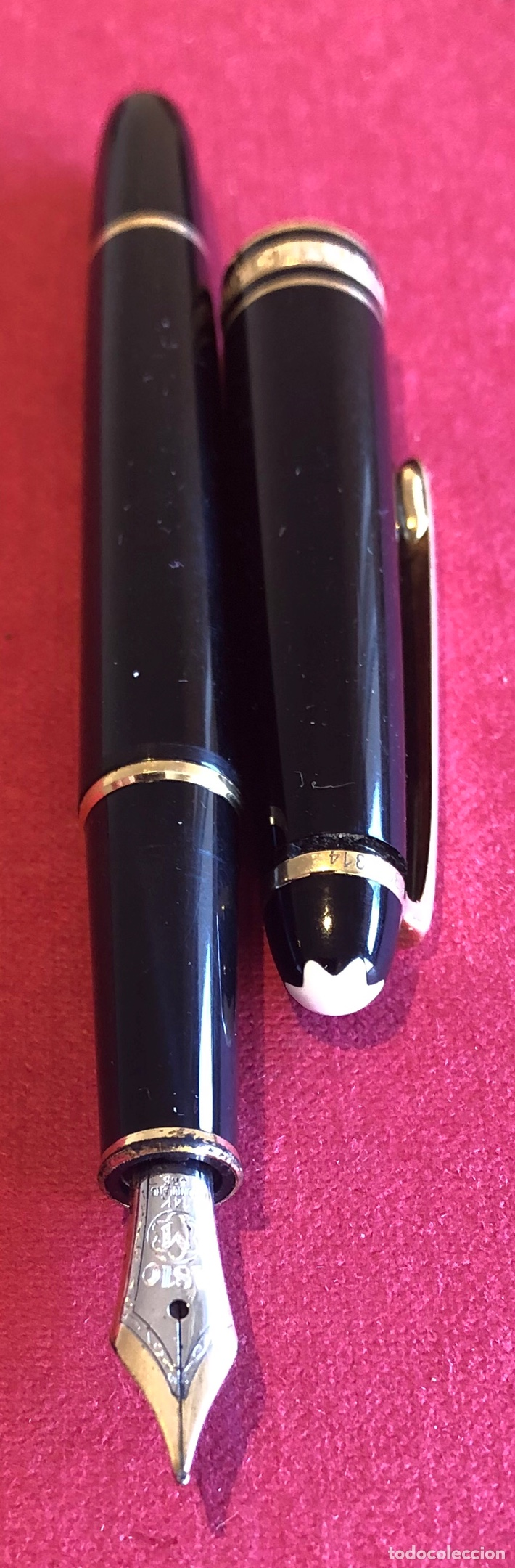 Plumas estilográficas antiguas: Pluma estilografica Montblanc Meisterstuck, de resina negra, con estuche original. - Foto 5 - 213380968