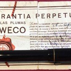 Plumas estilográficas antiguas: EXTRAORDINARIA PLUMA ESTILOGRAFICA, CON CERTIFICADO DE GARANTÍA PERPETUA KAWECO. NÚMERO 56, DE FAB.. Lote 214184760