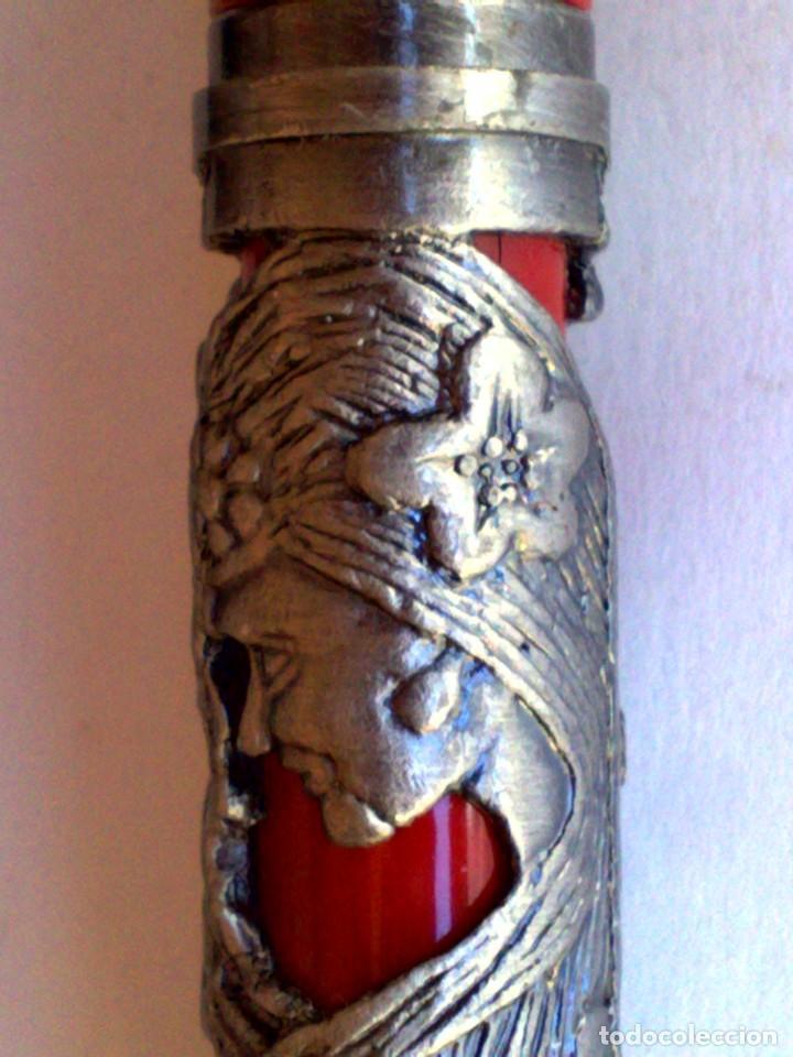 Plumas estilográficas antiguas: PLUMA ESTILOGRÁFICO METALICA PLATEADA,COLOR GRANATE-ROJO,MARCA IRIDIUM (MADE IN GERMANY) - Foto 6 - 218998661
