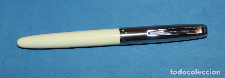 Plumas estilográficas antiguas: ANTIGUA PLUMA ESTILOGRAFICA INOXCROM 55 BLANCA - NUEVA - Foto 3 - 221696128