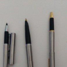Plumas estilográficas antiguas: 2 BOLÍGRAFOS Y PLUMA ESTILOGRÁFICA PARKER. UN BOLÍGRAFO ES DE PUBLICIDAD DE LA CASA MERCEDES.. Lote 224143787