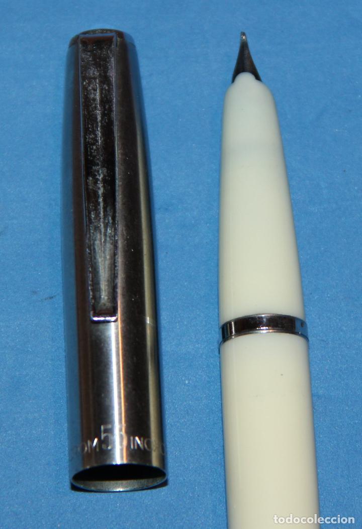 Plumas estilográficas antiguas: ANTIGUA PLUMA ESTILOGRAFICA INOXCROM 55 BLANCA - Foto 6 - 224625850