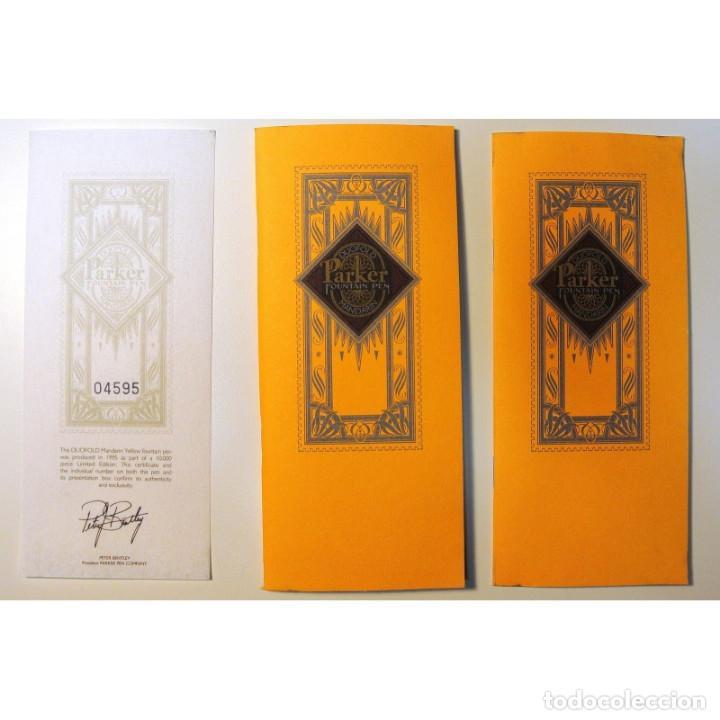 Plumas estilográficas antiguas: PLUMA ESTILOGRAFICA PARKER DUOFOLD MANDARIN YELLOW 1995 EDICION LIMITADA 04595 CON CAJA, IMPECABLE * - Foto 9 - 224808327