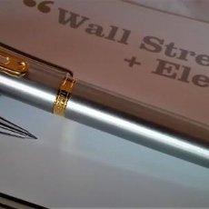 Plumas estilográficas antiguas: PLUMA ESTILOGRAFICA INOXCROM WALL STREET DE ACERO. Lote 228408985