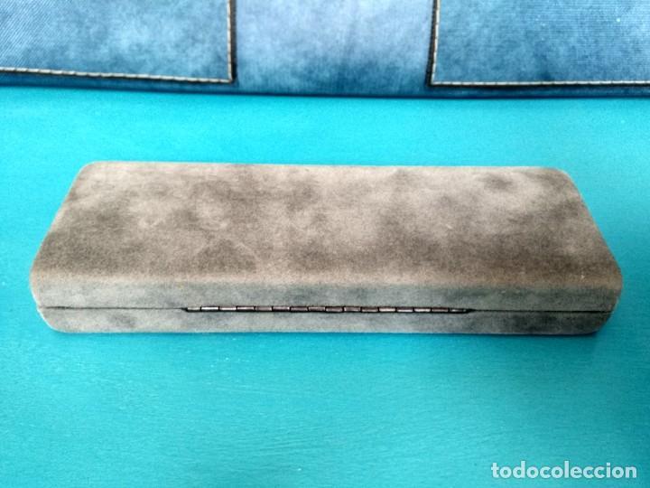 Plumas estilográficas antiguas: CAJA INOXCROM, ACABADO EXTERIOR TERCIOPELO GRIS Y ADORNOS EN DORADO - Foto 6 - 229343150