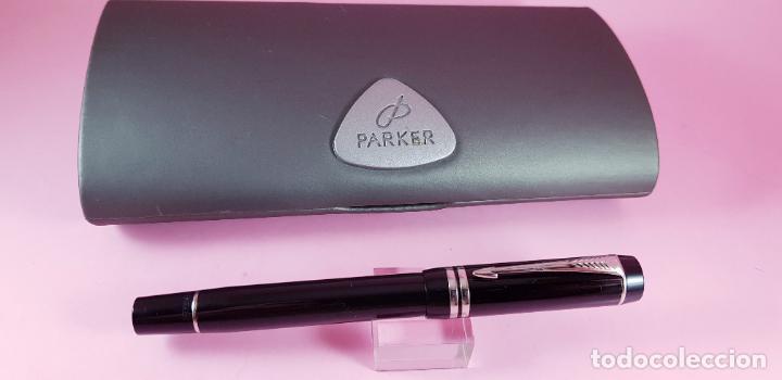 Plumas estilográficas antiguas: pluma estilográfica-parker duofold internacional black platinum-plumín original bicolor F-excelente - Foto 8 - 229529890
