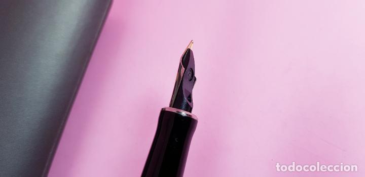 Plumas estilográficas antiguas: pluma estilográfica-parker duofold internacional black platinum-plumín original bicolor F-excelente - Foto 10 - 229529890