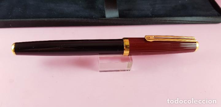 Plumas estilográficas antiguas: pluma estilográfica-INOXCROM sirocco guilloché-negra+burgundi-convertidor-caja-plumín original M - Foto 9 - 231485885