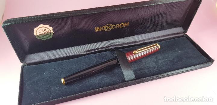 Plumas estilográficas antiguas: pluma estilográfica-INOXCROM sirocco guilloché-negra+burgundi-convertidor-caja-plumín original M - Foto 10 - 231485885