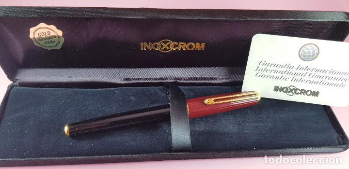Plumas estilográficas antiguas: pluma estilográfica-INOXCROM sirocco guilloché-negra+burgundi-convertidor-caja-plumín original M - Foto 3 - 231485885