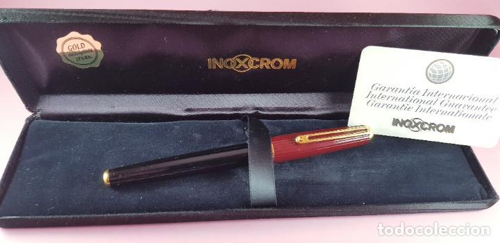 Plumas estilográficas antiguas: pluma estilográfica-INOXCROM sirocco guilloché-negra+burgundi-convertidor-caja-plumín original M - Foto 5 - 231485885