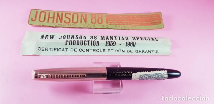 PLUMA ESTILOGRÁFICA-NEW JOHNSON MANTIAS SPECIAL PLEXIGLAS-FRANCIA-(1959/1960)-PAPELES-NEGRO+DORADO (Plumas Estilográficas, Bolígrafos y Plumillas - Plumas)