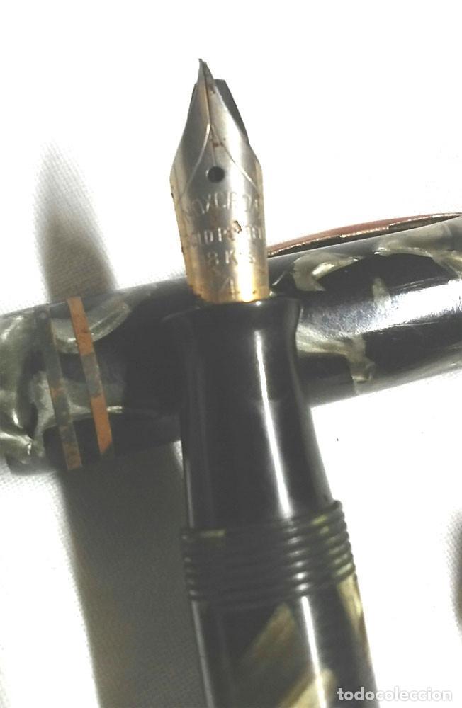 Plumas estilográficas antiguas: Inoxcrom Pluma Estilográfica, Cuerpo Celuloide Aguas. Med 11,20 cm - Foto 4 - 260868085