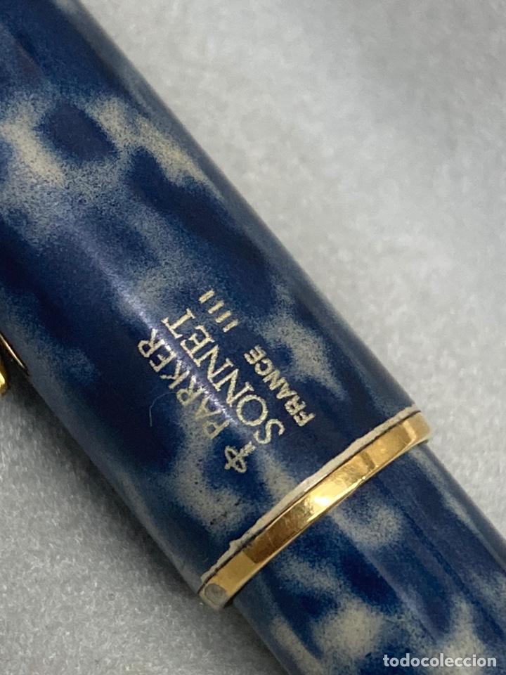 Plumas estilográficas antiguas: Pluma Parker Sonnet plumin oro 18kl cuerpo lacado marmolado azul - Foto 4 - 262781635
