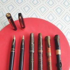 Plumas estilográficas antiguas: LOTE 6 PLUMAS ANTIGUAS , PARKER VACUMATIC,FOUNTAIN PEN , SHEAFER 585 14 Y 23 K , CONKLIN,METEOR.. Lote 263137560