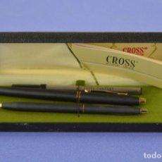 Plumas de tinta permanente antigas: CROSS - BOLÍGRAFO Y PLUMA, EN ESTUCHE ORIGINAL.. Lote 264151492