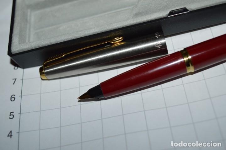 Plumas estilográficas antiguas: PARKER 45 - Roja burdeos / Detalles acero y dorados / Con caja/estuche NOS - ¡Mira fotos, PRECIOSA! - Foto 8 - 276962823